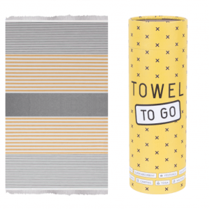 Towel to Go l Bali hammam towel in grey/mustard with recycled gift box - TTG3BG 500x500