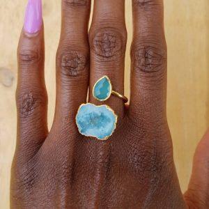 YAA YAA LONDON Turquoise Teardrop Chalcedony Druzy Gold Ring