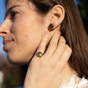 YAA YAA LONDON SEMI-PRECIOUS GEM GOLD VERMEIL RING – Fully Adjustable