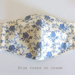 Face Mask Blue Roses on Cream