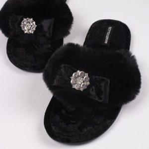 AMELIE Black slippers pack of 8