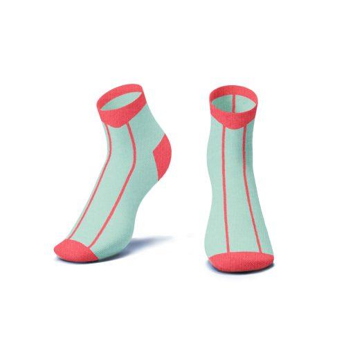 Coral Stripe Ankle Socks - Kids - CORAL STRIPE ANKLE SOCKS 3D 500x500