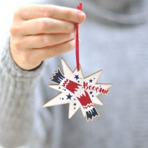 Wooden Christmas tree decoration – Christmas cracker, boom!