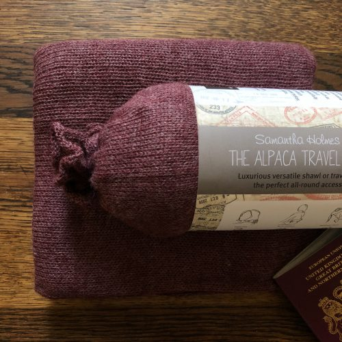 Alpaca Travel Shawl in Red Wine