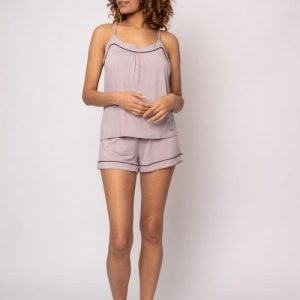 BAMBOO Cami and Short Set in Oyster-Pack of 8 Sets