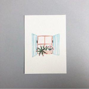 Blue Shuttered Window A6 Print - IMG 7620 500x500