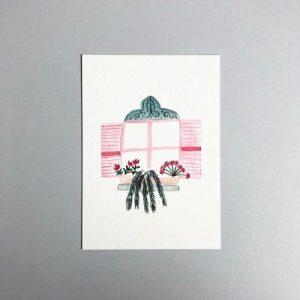 Pink Shuttered Window A6 Print - IMG 7622 500x500
