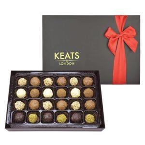Keats Luxury Truffle Selection 24 pcs Red bow - Keats Original Truffle Selection Ribbon Box 290g 500x500