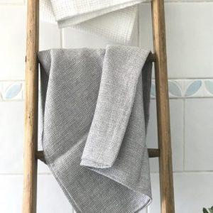 Linen Waffle Grey Towel