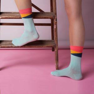 Mint Geom Ankle Socks – Adult