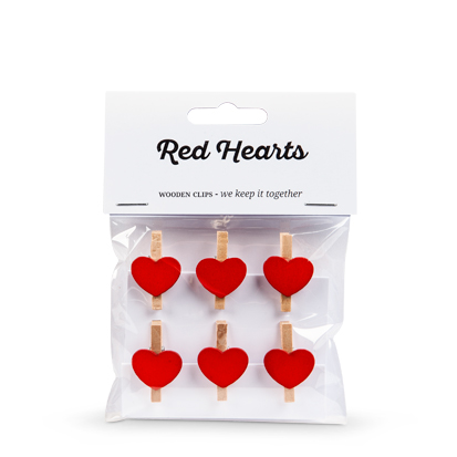 Mini Pegs Wooden Hearts – Red