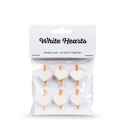 Mini Pegs Wooden Hearts – White