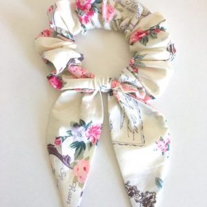 Hair Bow Scrunchie Roses in Paris Cream