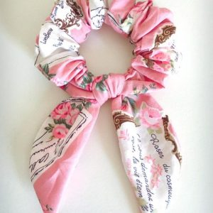 Hair Bow Scrunchie Roses in Paris Pink