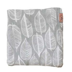Swaddle/muslin cloth 120x120cm Beleaf warm grey / white