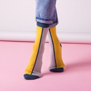 Contrast Ankle Socks in Mustard – Adult