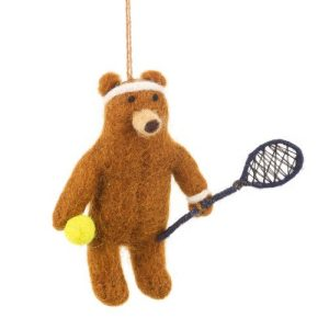 Handmade Needle Felt Tennis Bear Hanging Decoration