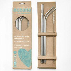 Oceana Reusable Stainless Steel Straws (4 straws + 1 cleaner)