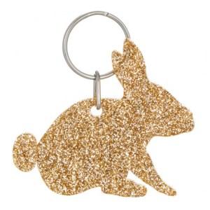 Glitter Acrylic Rabbit Style 5 Keyring