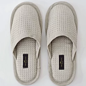 Natural Linen Waffle Slippers (sizes EU 37/39/41/43) - slippers nat2