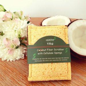 Coconut fibre scrubber with cellulose kitchen sponge