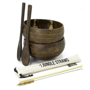 Coconut Bowl Set with 2 Organic Wooden Spoons, Bamboo Straw and Natural Jute Pouch (Geometric Pattern)
