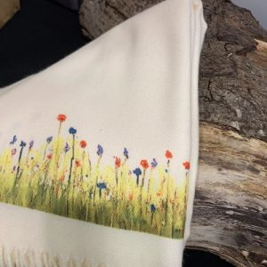 Cashmere Blend scarf in Cream handprinted with Wildflowers