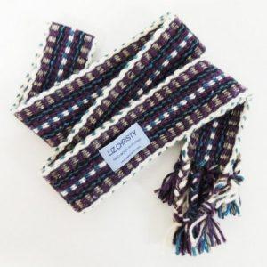 Christy Crios – Irish Belt / Handfasting Braid 96″ + Plaits – Purple Blue & White