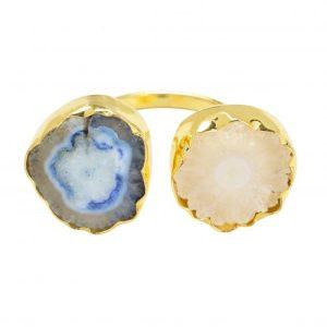 YAA YAA LONDON Cream & Blue Solar Quartz Stone Gold Adjustable Ring