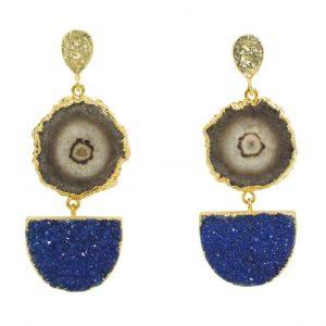 Black/Grey Solar Quartz and Midnight Druzy Agate Gold Pendant Earrings