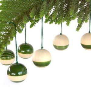 Ethiqana Wooden Baubles – Set of 6 (Green)
