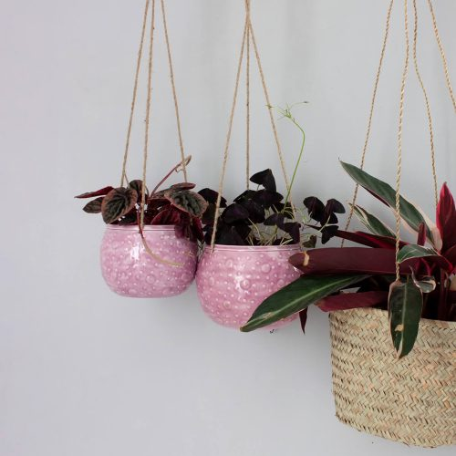 Bohemia Enamel Hanging Planter, Lilac