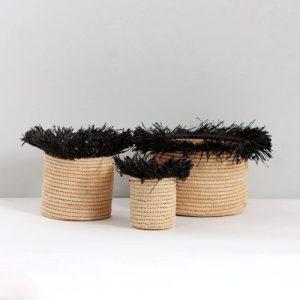 Bohemia Design Raffia Tassel Storage Pots, Black (set of 3)
