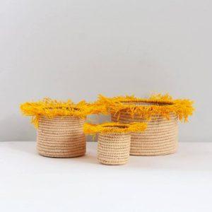 Bohemia Design Raffia Tassel Storage Pots, Yellow (set of 3)