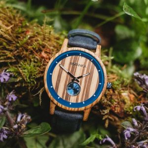 Botanica Watches |Sycamore| Zebrano Wood Face with Vegan Navy Strap