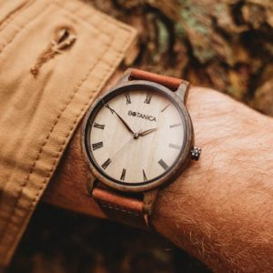 Botanica Watches | Cedar |Sandal Wood Face with Real Soft Leather Brown Strap