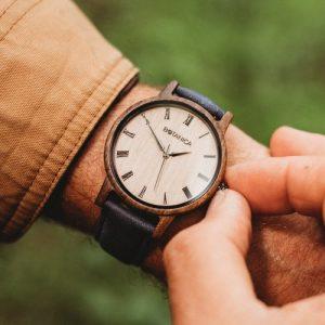 Botanica Watches | Cedar |Sandal Wood Face with Vegan Navy Strap