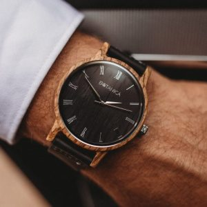 Botanica Watches | Ivy | Zebrano Wood Face with Real Soft Leather Black Strap