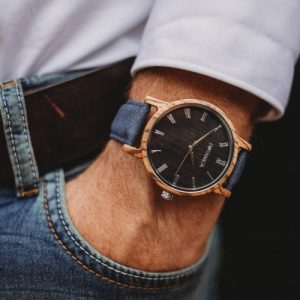 Botanica Watches | Ivy |Zebrano Wood Face with Vegan Navy Strap