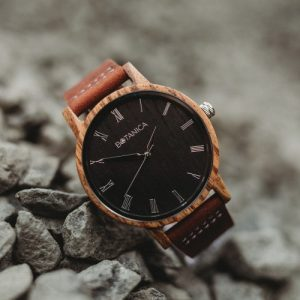 Botanica Watches   Ivy   Zebrano Wood Face with Real Soft Leather Brown Strap