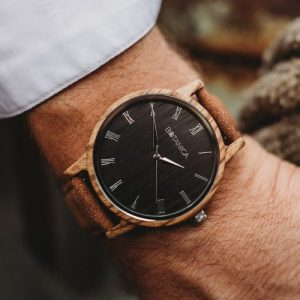 Botanica Watches | Ivy | Zebrano Wood Face with Vegan Tan Strap