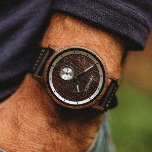 Botanica Watches | Olive |Sandal Wood Face with Real Soft Leather Black Strap