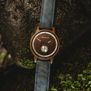 Botanica Watches | Olive |Sandal Wood Face with Vegan Navy Strap