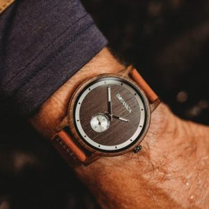 Botanica Watches | Olive | Sandal Wood Face with Real Soft Leather Brown Strap