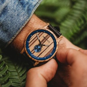 Botanica Watches |Sycamore| Zebrano Wood Face with Real Soft Leather Black Strap