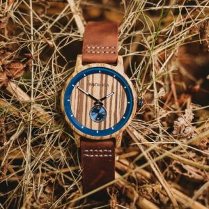 Botanica Watches |Sycamore| Zebrano Wood Face with Real Soft Leather Brown Strap