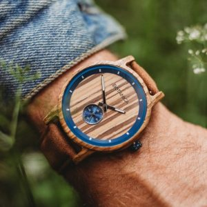 Botanica Watches |Sycamore| Zebrano Wood Face with Vegan Tan Strap
