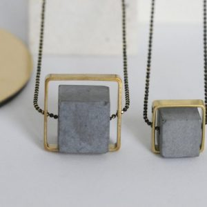 CONCRETE AND BRASS SQUARE NECKLACE, large 16mm - CONCRETE AND BRASS NECKLACE 500x500