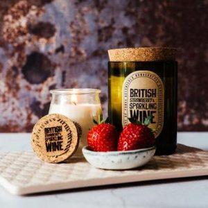 Panda Botanicals Wine Bottle Candle British Strawberry & Sparkling Wine