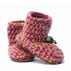 Camo Girl Pink Wool Baby Booties_with toggle_Kingdom of Wow!